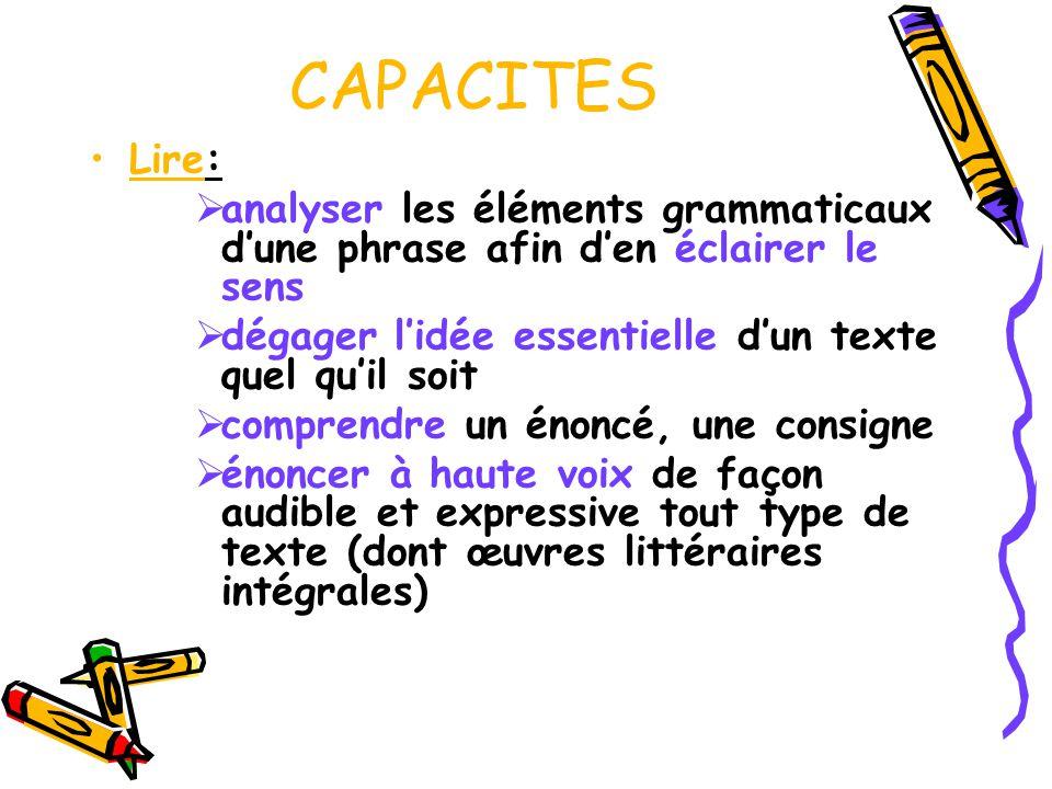 CAPACITES Lire: analyser les éléments grammaticaux dune phrase afin den éclairer le sens dégager lidée essentielle dun texte quel quil soit comprendre
