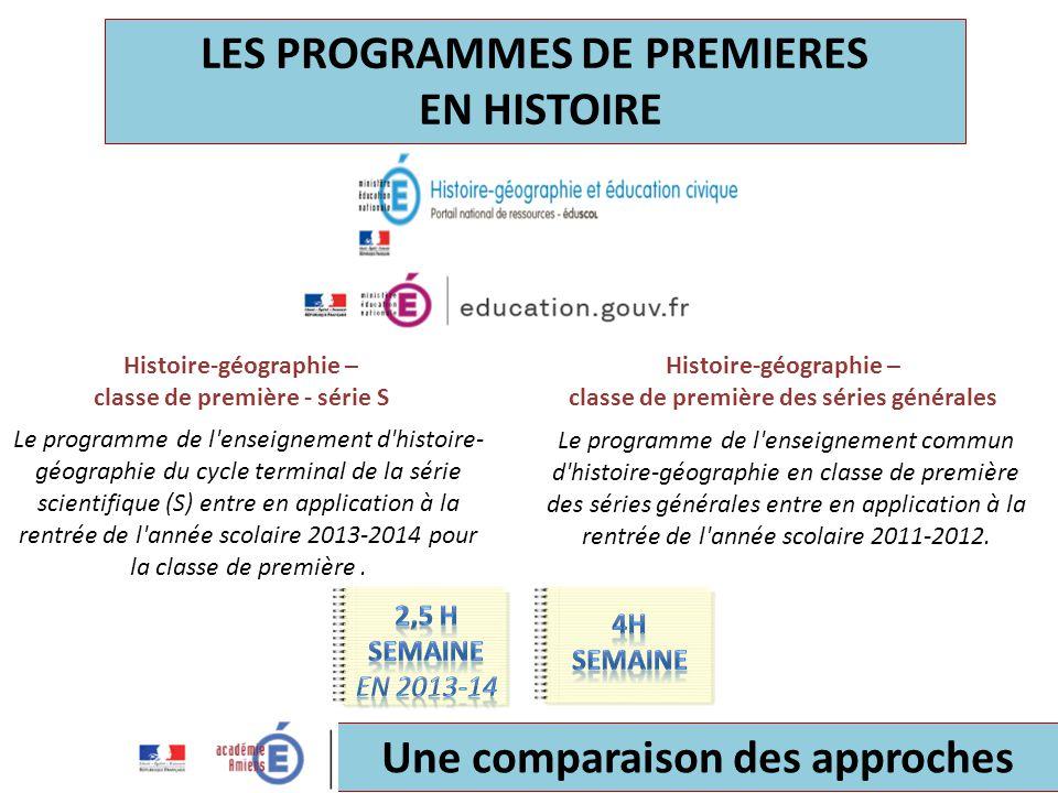 LES PROGRAMMES DE PREMIERES EN HISTOIRE Le programme de l'enseignement d'histoire- géographie du cycle terminal de la série scientifique (S) entre en
