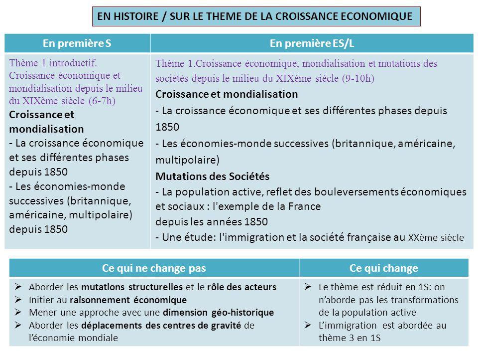En première SEn première ES/L Thème 1 introductif. Croissance économique et mondialisation depuis le milieu du XIXème siècle (6-7h) Croissance et mond