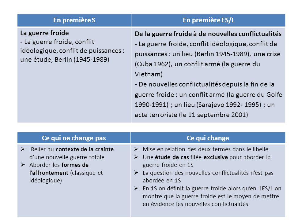 En première SEn première ES/L La guerre froide - La guerre froide, conflit idéologique, conflit de puissances : une étude, Berlin (1945-1989) De la gu