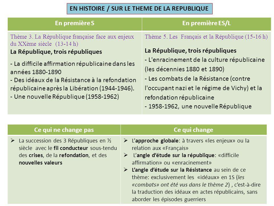 En première SEn première ES/L Thème 3. La République française face aux enjeux du XXème siècle (13-14 h) La République, trois républiques - La diffici