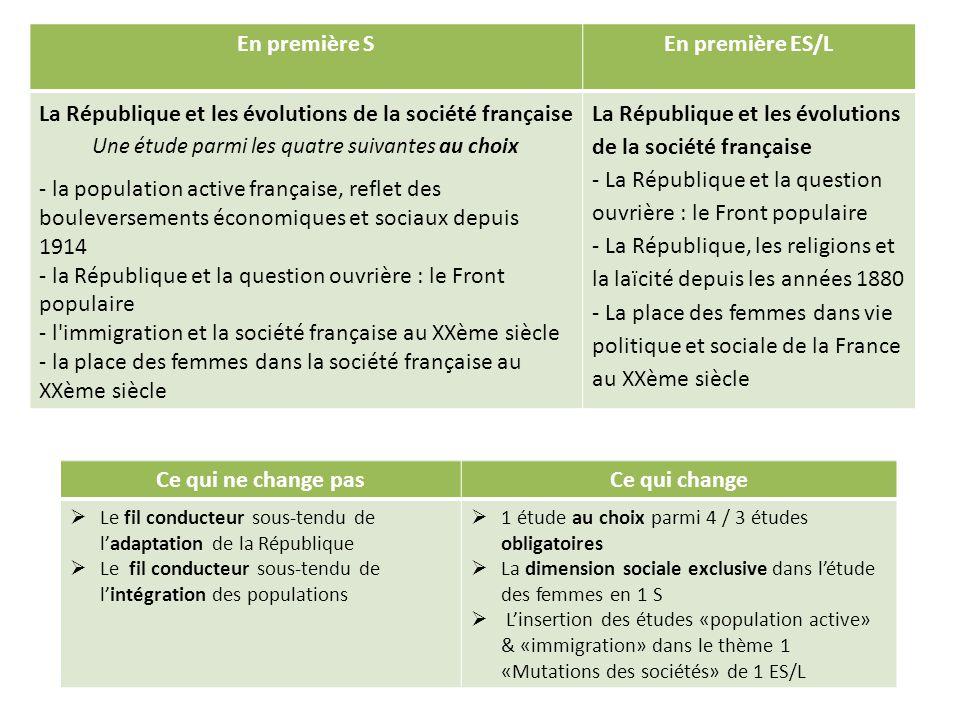 En première SEn première ES/L La République et les évolutions de la société française Une étude parmi les quatre suivantes au choix - la population ac