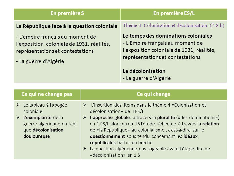 En première SEn première ES/L La République face à la question coloniale - L'empire français au moment de l'exposition coloniale de 1931, réalités, re