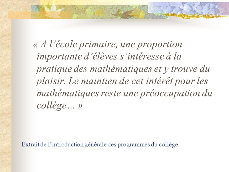 Présentation des nouveaux programmes de sixième B. Jauffret et C. Roncin IA IPR de mathématiques.