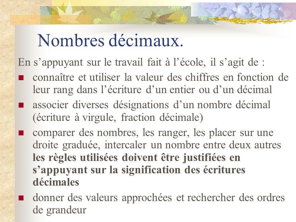 Nombres entiers. Pour les nombres entiers naturels, les connaissances relatives : à la désignation orale, littérale ou chiffrée à lordre sont attendue