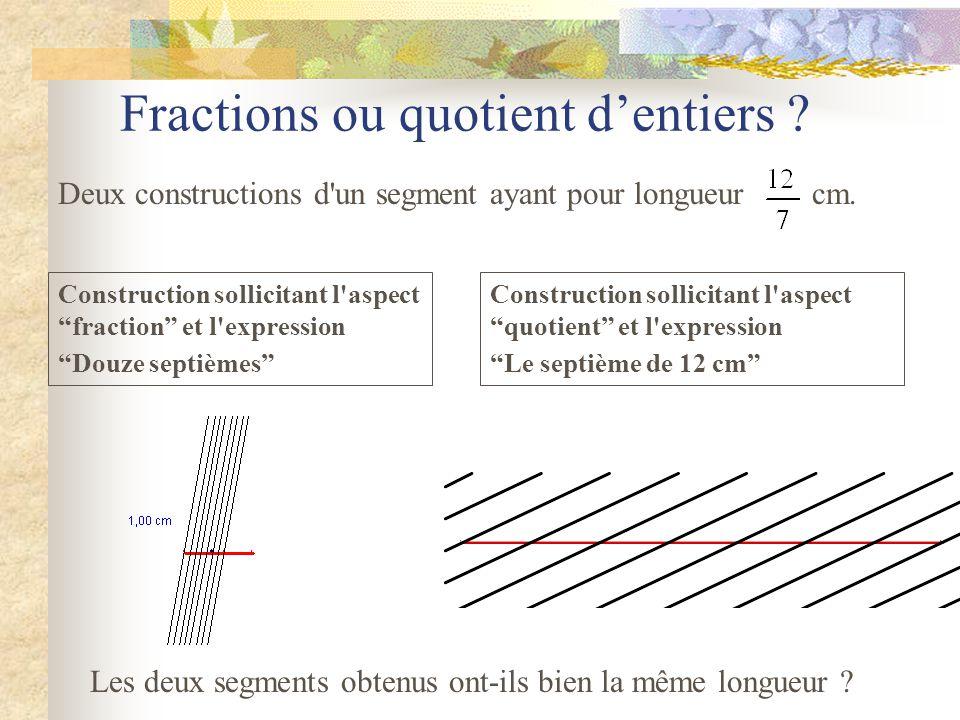 Fraction et quotient « La notion de quotient occupe une place centrale en sixième sous ses différentes significations : quotient euclidien, décimal, f