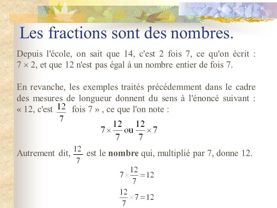 Deux constructions d'un segment ayant pour longueur cm. Construction sollicitant l'aspect fraction et l'expression Douze septièmes Construction sollic