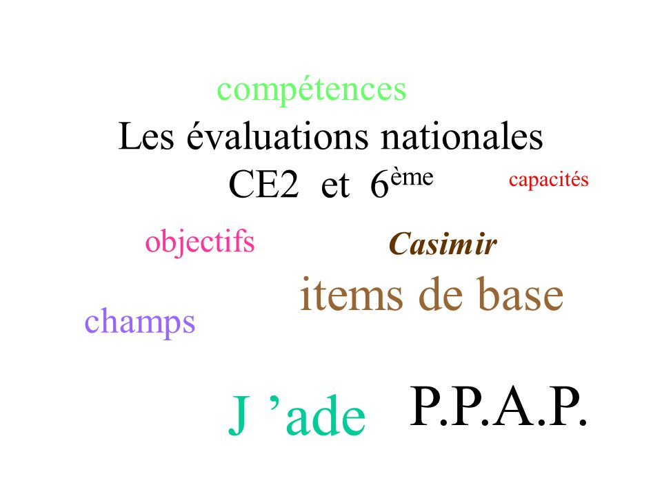 Les évaluations nationales CE2 et 6 ème objectifs capacités compétences items de base Casimir J ade champs P.P.A.P.