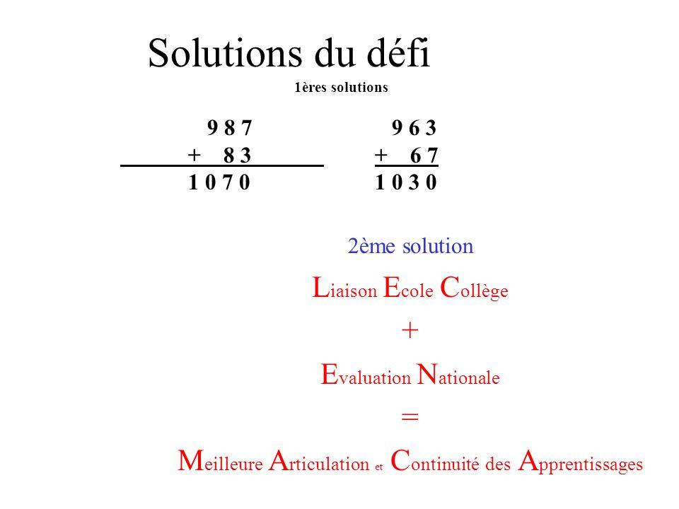 Liaison école - collège Circonscription de Chauny 2004/2005 l année des défis en mathématiques ? L E C + E N _________________________________________