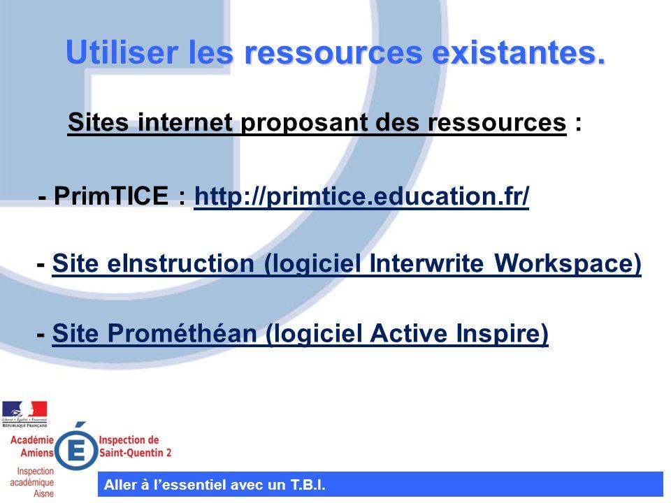 Utiliser les ressources existantes.Aller à lessentiel avec un T.B.I.