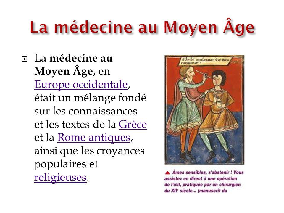 La médecine au Moyen Âge, en Europe occidentale, était un mélange fondé sur les connaissances et les textes de la Grèce et la Rome antiques, ainsi que