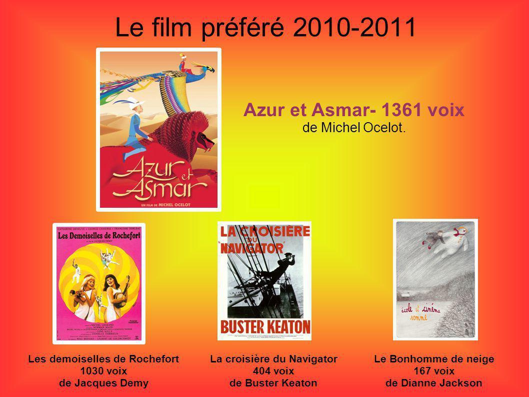 Le film préféré 2010-2011 Les demoiselles de Rochefort 1030 voix de Jacques Demy Azur et Asmar- 1361 voix de Michel Ocelot. Le Bonhomme de neige 167 v