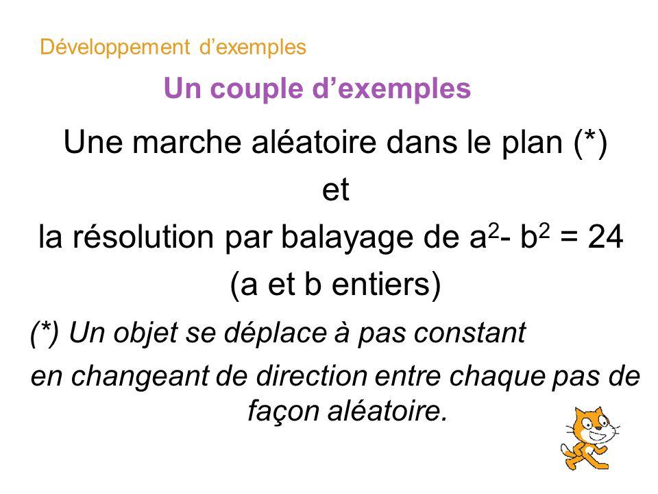 Développement dexemples Un couple dexemples Une marche aléatoire dans le plan (*) et la résolution par balayage de a 2 - b 2 = 24 (a et b entiers) (*)