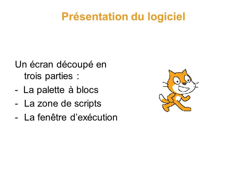 Présentation du logiciel Descriptif de lécran La palette à blocs 8 menus