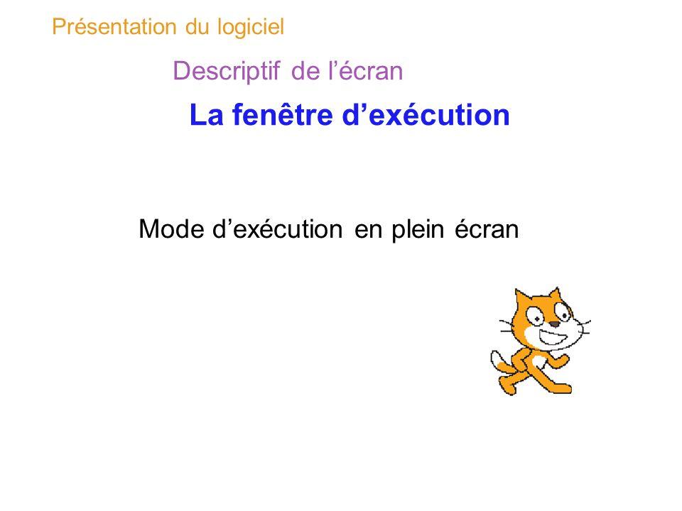 Présentation du logiciel Descriptif de lécran La fenêtre dexécution Mode dexécution en plein écran
