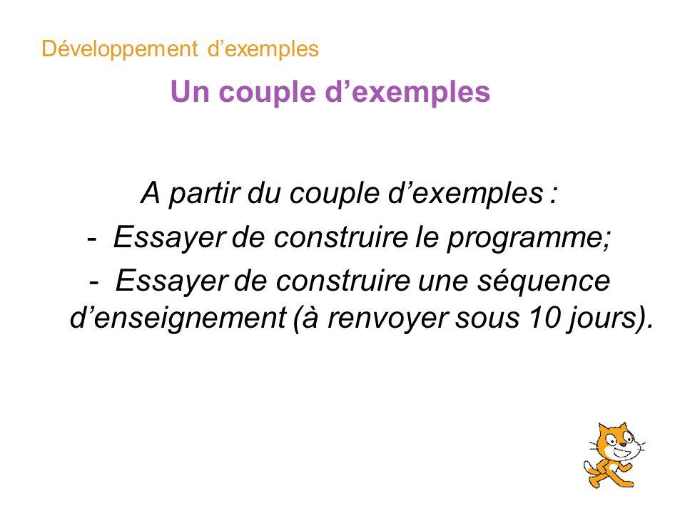 Développement dexemples Un couple dexemples A partir du couple dexemples : -Essayer de construire le programme; -Essayer de construire une séquence de
