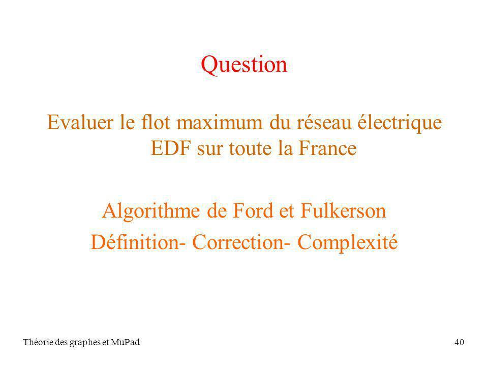Théorie des graphes et MuPad40 Question Evaluer le flot maximum du réseau électrique EDF sur toute la France Algorithme de Ford et Fulkerson Définition- Correction- Complexité
