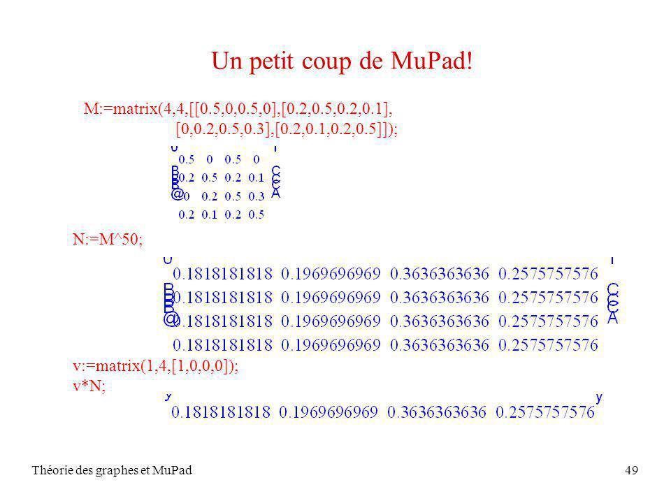 Théorie des graphes et MuPad49 Un petit coup de MuPad! M:=matrix(4,4,[[0.5,0,0.5,0],[0.2,0.5,0.2,0.1], [0,0.2,0.5,0.3],[0.2,0.1,0.2,0.5]]); v:=matrix(