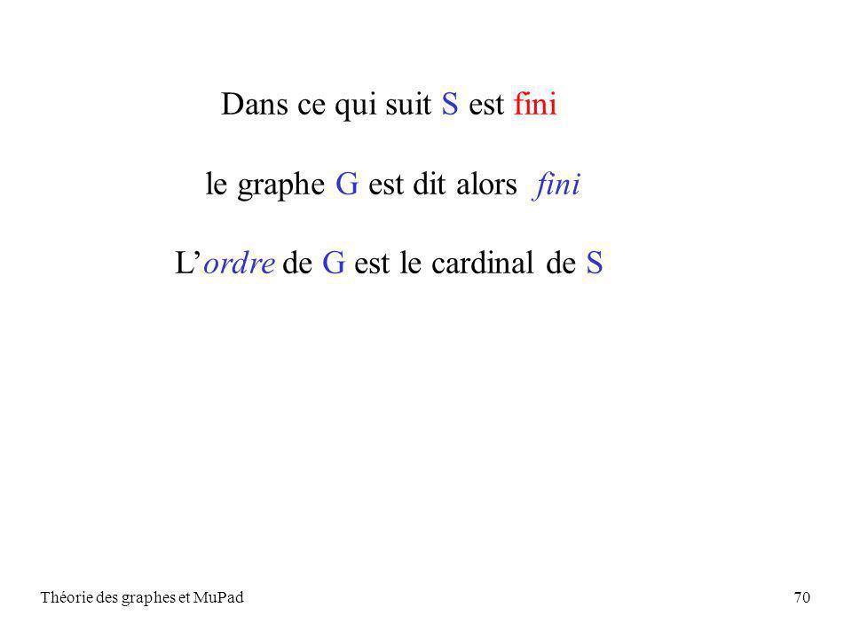 Théorie des graphes et MuPad70 Dans ce qui suit S est fini le graphe G est dit alors fini Lordre de G est le cardinal de S