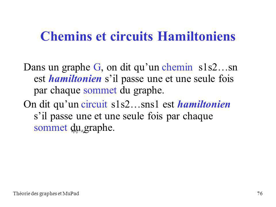 Théorie des graphes et MuPad76 Chemins et circuits Hamiltoniens Dans un graphe G, on dit quun chemin s1s2…sn est hamiltonien sil passe une et une seule fois par chaque sommet du graphe.