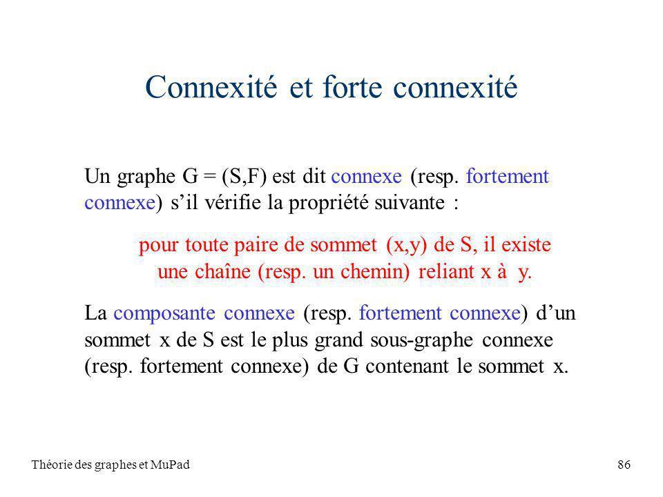 Théorie des graphes et MuPad86 Connexité et forte connexité Un graphe G = (S,F) est dit connexe (resp. fortement connexe) sil vérifie la propriété sui