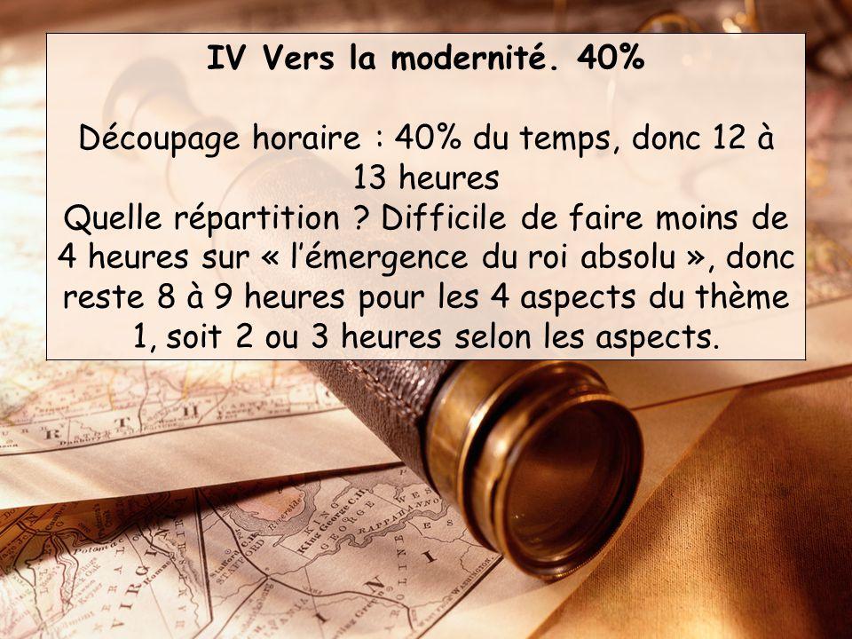 IV Vers la modernité.