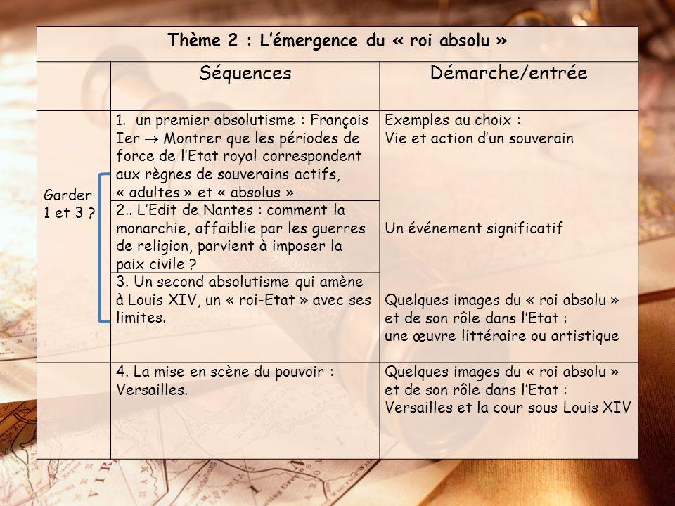 Thème 2 : Lémergence du « roi absolu » SéquencesDémarche/entrée Garder 1 et 3 .