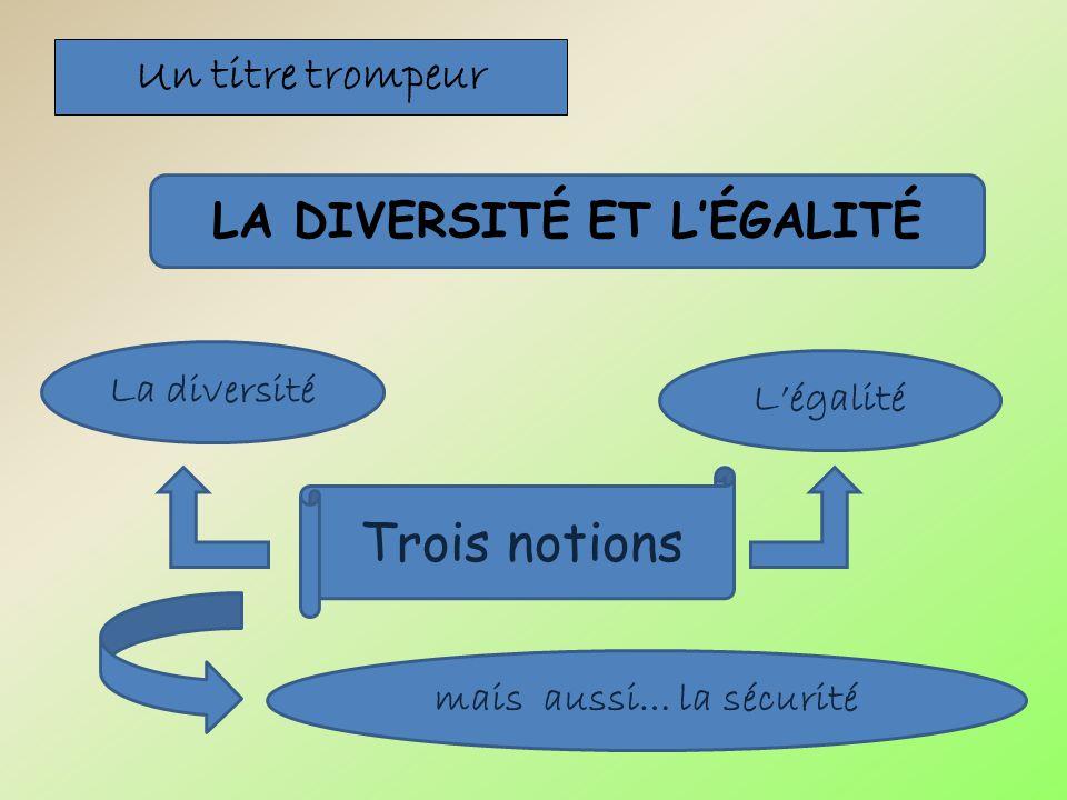 Un titre trompeur LA DIVERSITÉ ET LÉGALITÉ La diversité mais aussi… la sécurité Légalité Trois notions