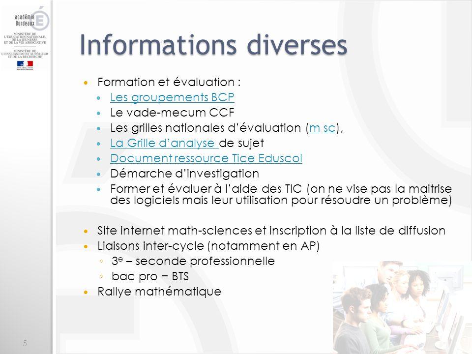 Informations diverses Formation et évaluation : Les groupements BCP Le vade-mecum CCF Les grilles nationales dévaluation (m sc),msc La Grille danalyse