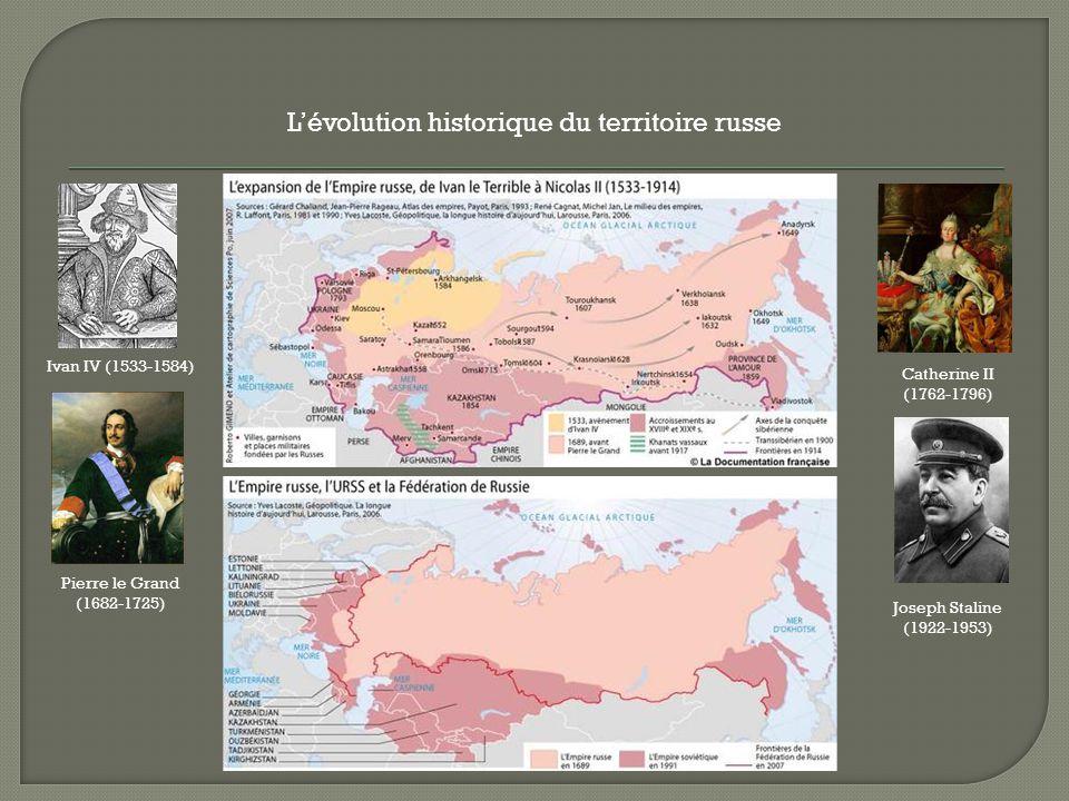 Lévolution historique du territoire russe Ivan IV (1533-1584) Pierre le Grand (1682-1725) Catherine II (1762-1796) Joseph Staline (1922-1953)