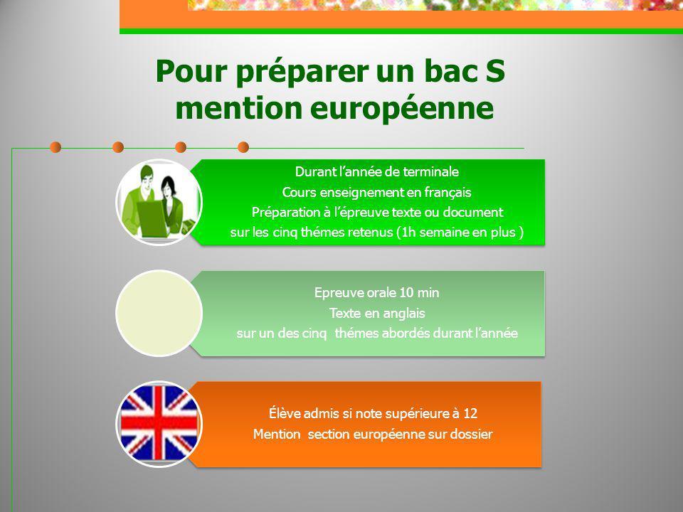 Pour préparer un bac S mention européenne Durant lannée de terminale Cours enseignement en français Préparation à lépreuve texte ou document sur les c