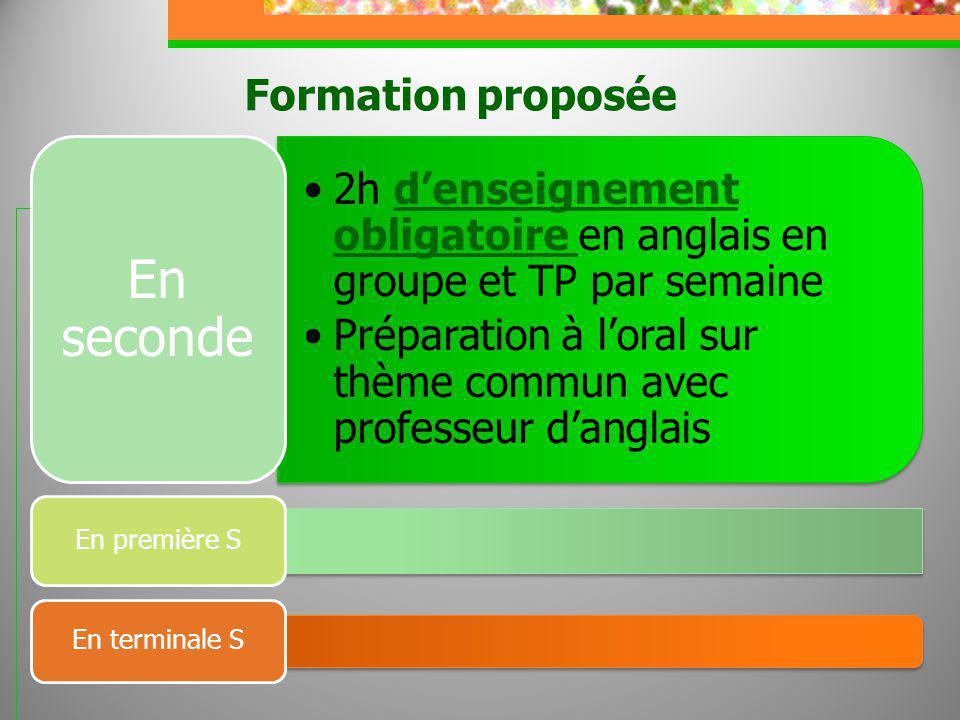 Formation proposée 2h denseignement obligatoire en anglais en groupe et TP par semaine Préparation à loral sur thème commun avec professeur danglais E