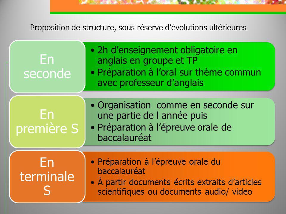 Proposition de structure, sous réserve dévolutions ultérieures 2h denseignement obligatoire en anglais en groupe et TP Préparation à loral sur thème c