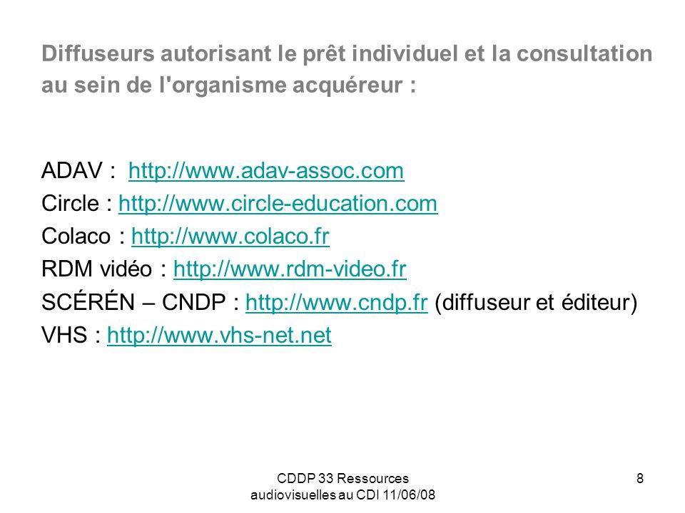 CDDP 33 Ressources audiovisuelles au CDI 11/06/08 9 Organismes de production, établissements publics ou associations, autorisant l usage institutionnel : CERIMES : http://www.cerimes.education.frhttp://www.cerimes.education.fr (enseignement supérieur) CNC Images de la culture : http://prep-cncfr.seevia.com/idc/data/Cnc/index.htm CNED : http://www.cned.frhttp://www.cned.fr CNRS : http://videotheque.cnrs.frhttp://videotheque.cnrs.fr