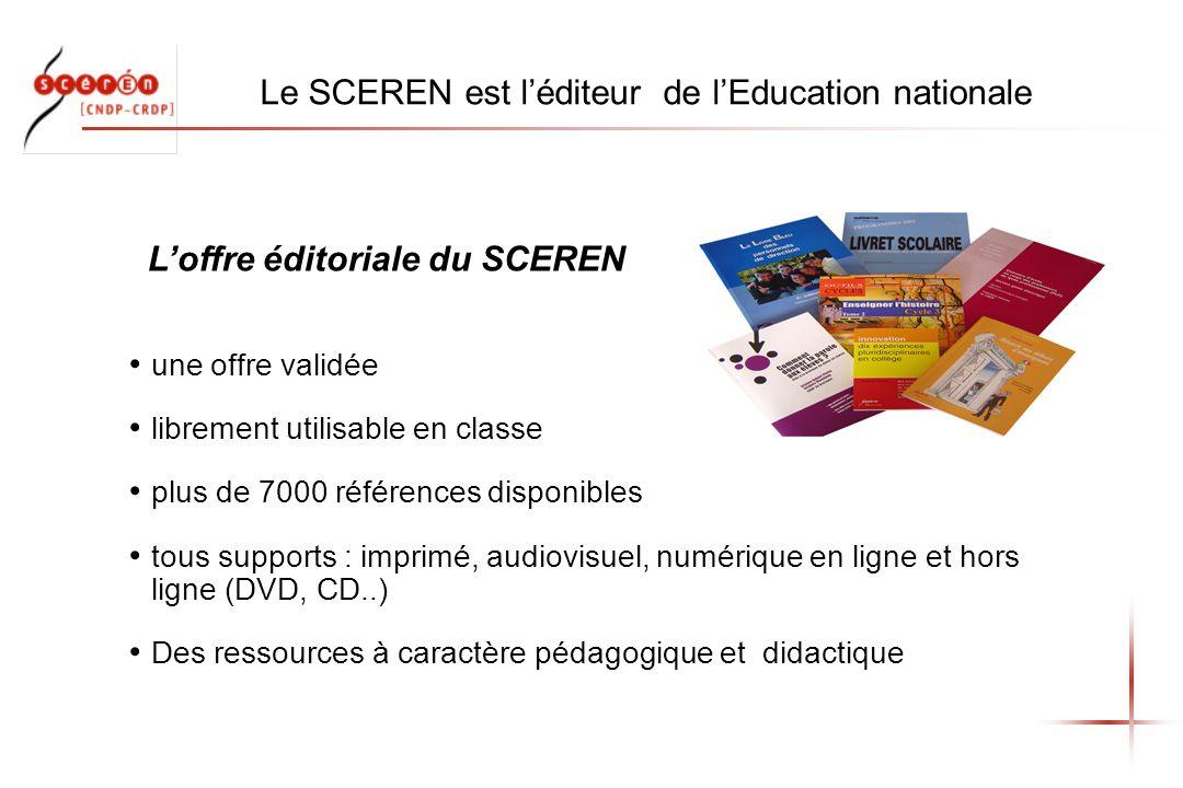 Le SCEREN est léditeur de lEducation nationale une offre validée librement utilisable en classe plus de 7000 références disponibles tous supports : imprimé, audiovisuel, numérique en ligne et hors ligne (DVD, CD..) Des ressources à caractère pédagogique et didactique Loffre éditoriale du SCEREN