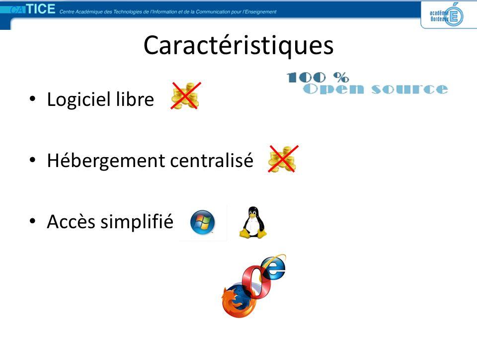 Caractéristiques Logiciel libre Hébergement centralisé Accès simplifié