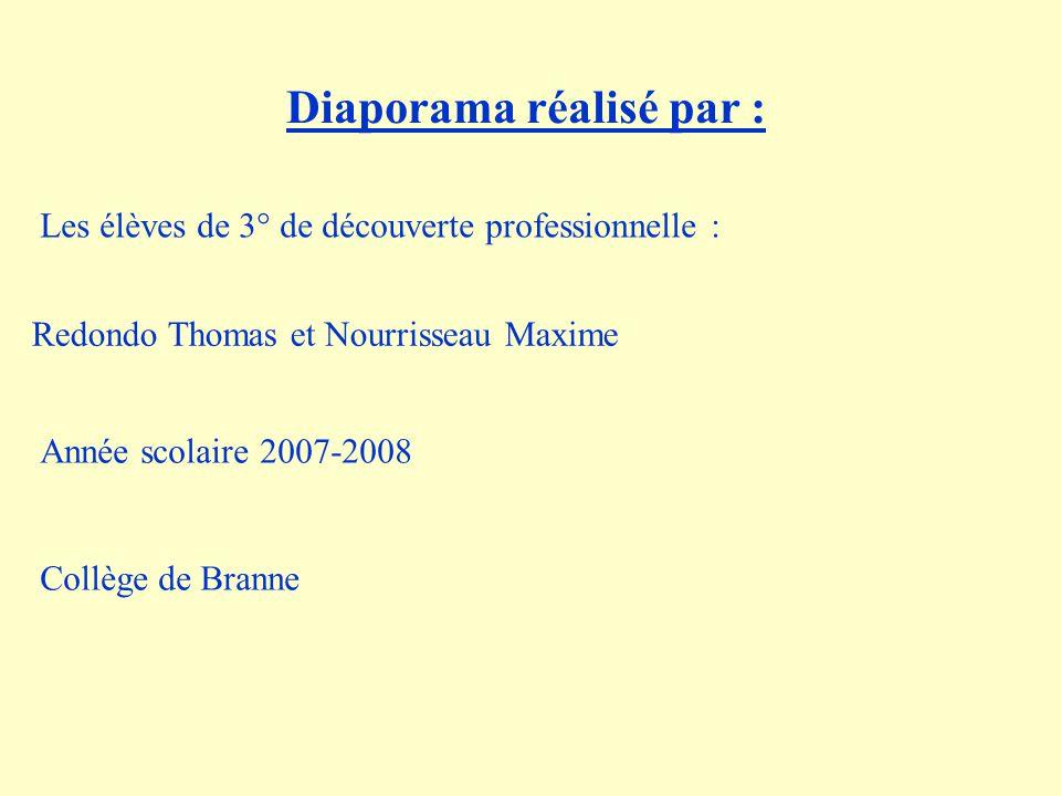 Diaporama réalisé par : Les élèves de 3° de découverte professionnelle : Redondo Thomas et Nourrisseau Maxime Année scolaire 2007-2008 Collège de Bran