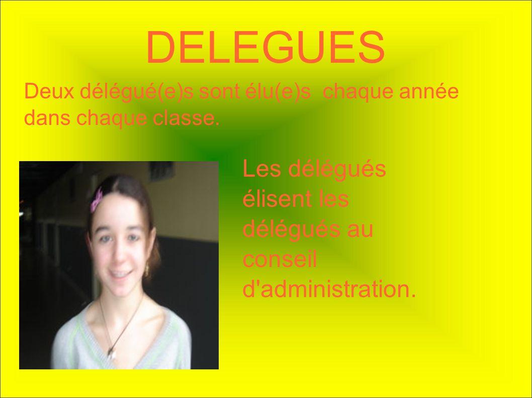 DELEGUES Deux délégué(e)s sont élu(e)s chaque année dans chaque classe. Les délégués élisent les délégués au conseil d'administration.