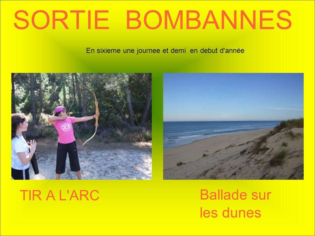 SORTIE BOMBANNES TIR A L'ARC Ballade sur les dunes En sixieme une journee et demi en debut d'année
