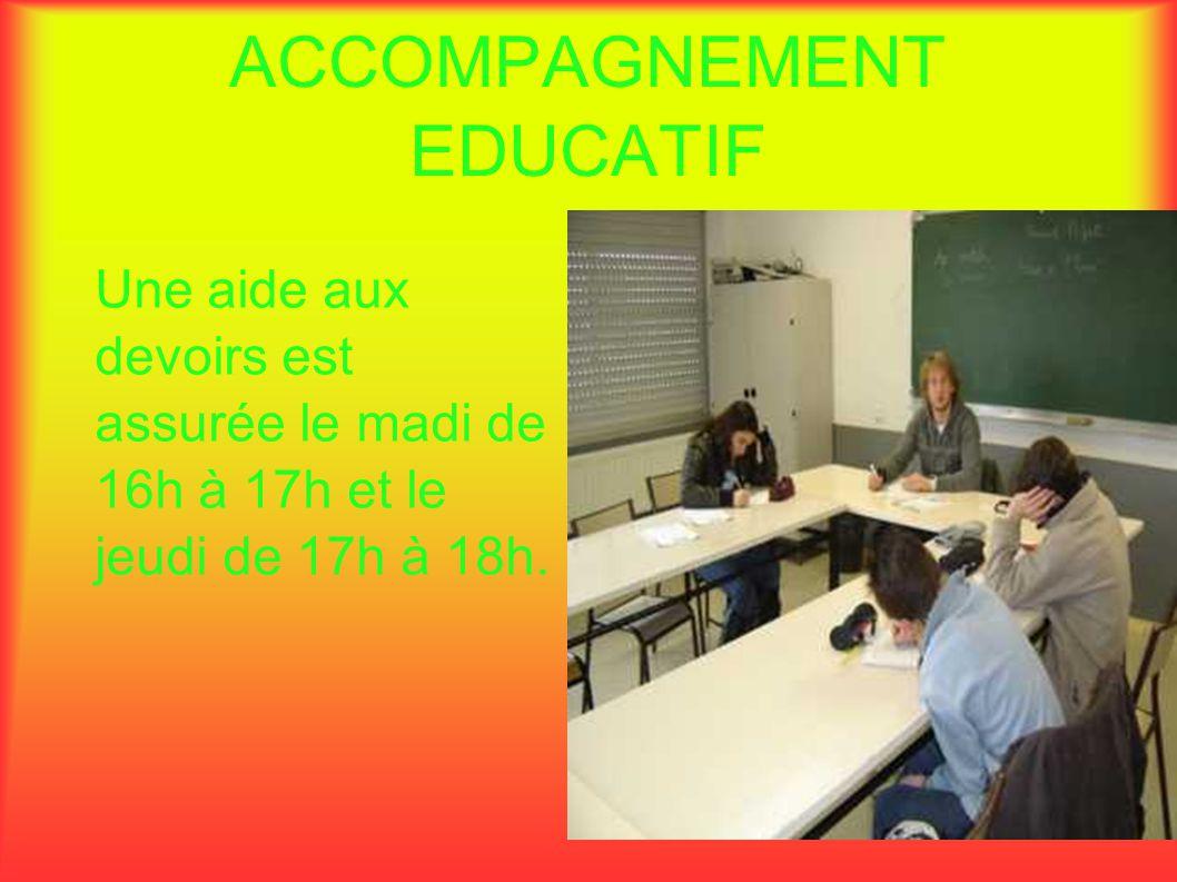 ACCOMPAGNEMENT EDUCATIF Une aide aux devoirs est assurée le madi de 16h à 17h et le jeudi de 17h à 18h.