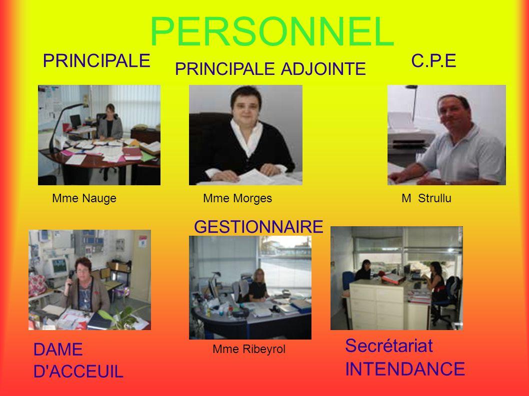 PERSONNEL C.P.EPRINCIPALE DAME D'ACCEUIL PRINCIPALE ADJOINTE GESTIONNAIRE Secrétariat INTENDANCE Mme NaugeMme MorgesM Strullu Mme Ribeyrol