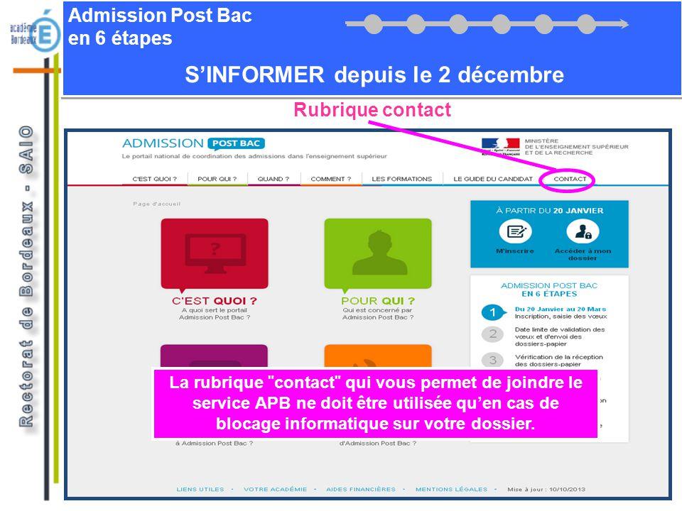Admission Post Bac en 6 étapes SINFORMER depuis le 2 décembre La rubrique