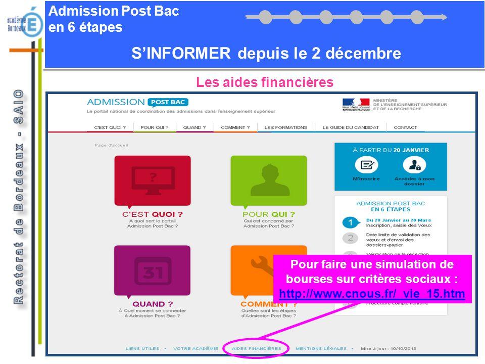 Admission Post Bac en 6 étapes SINFORMER depuis le 2 décembre Les aides financières Pour faire une simulation de bourses sur critères sociaux : http:/