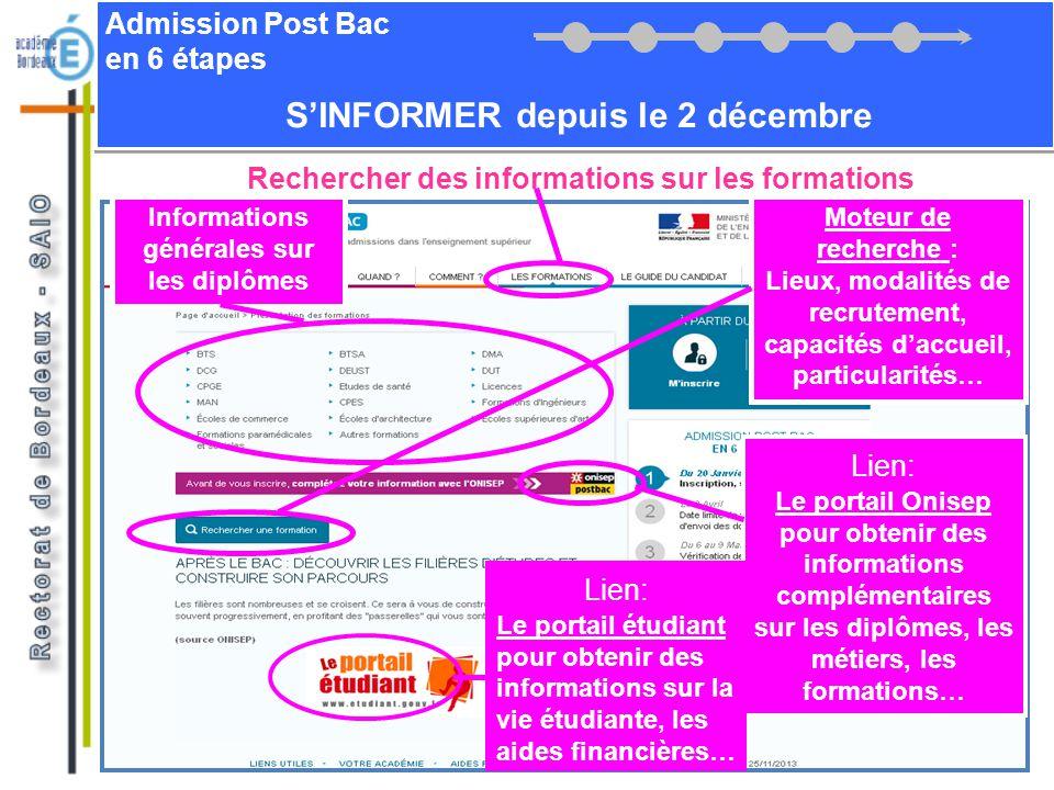 Admission Post Bac en 6 étapes SINFORMER depuis le 2 décembre Rechercher des informations sur les formations Moteur de recherche : Lieux, modalités de