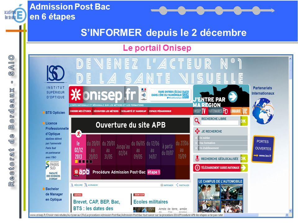 Admission Post Bac en 6 étapes SINFORMER depuis le 2 décembre Le portail Onisep