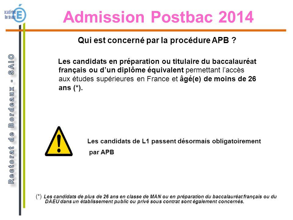 Admission Postbac 2014 Les candidats en préparation ou titulaire du baccalauréat français ou dun diplôme équivalent permettant laccès aux études supér