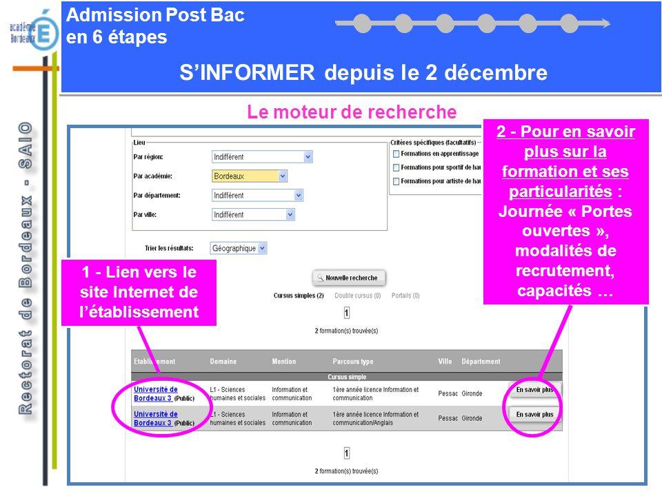 Admission Post Bac en 6 étapes SINFORMER depuis le 2 décembre Le moteur de recherche 1 - Lien vers le site Internet de létablissement 2 - Pour en savo