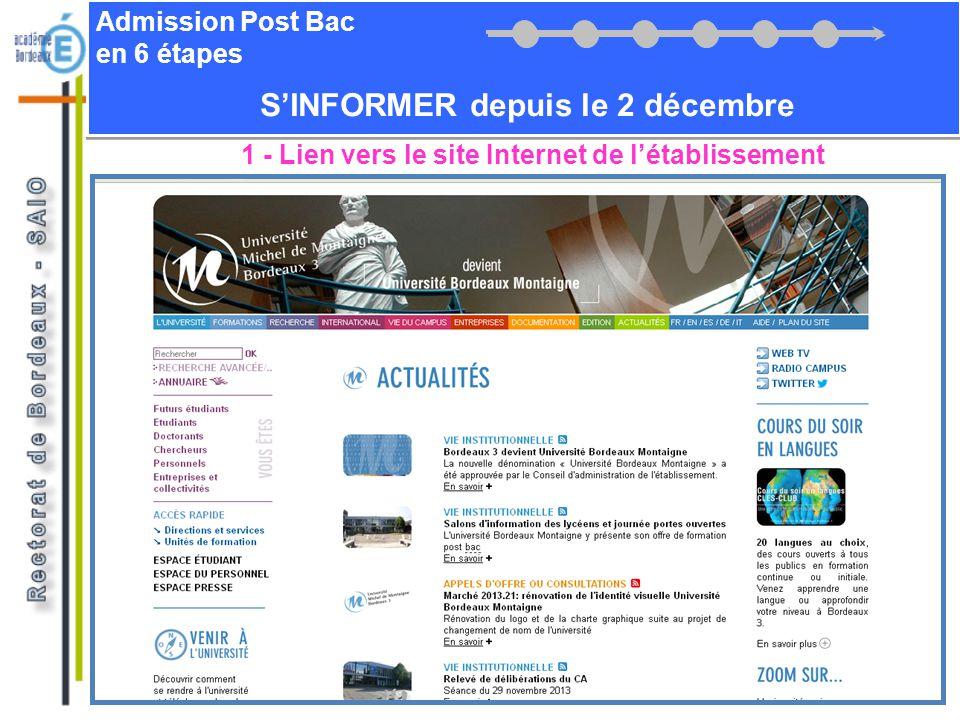 Admission Post Bac en 6 étapes SINFORMER depuis le 2 décembre 1 - Lien vers le site Internet de létablissement