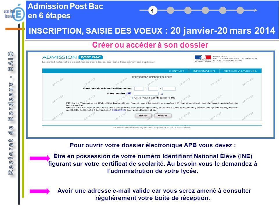 Admission Post Bac en 6 étapes Créer ou accéder à son dossier Pour ouvrir votre dossier électronique APB vous devez : Être en possession de votre numé