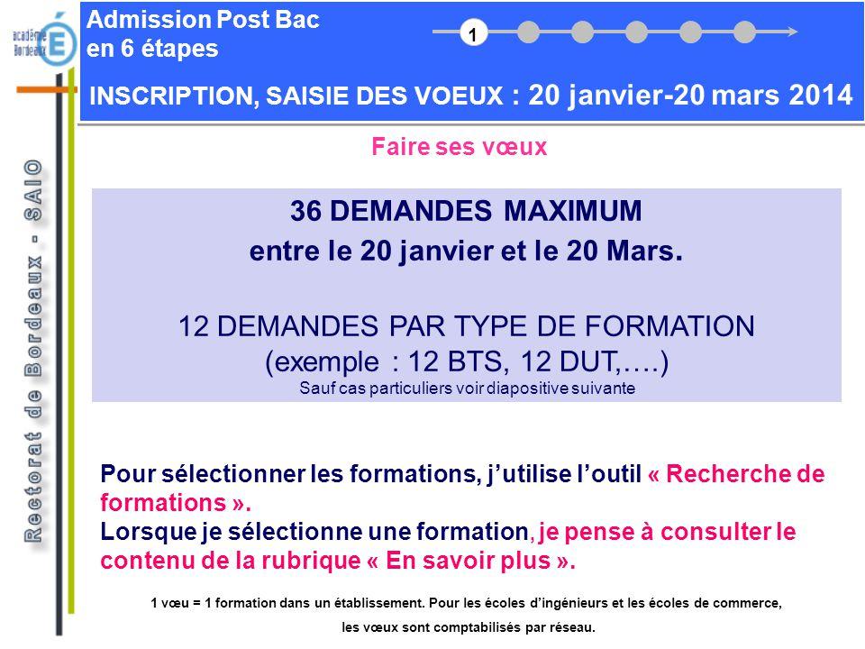 Admission Post Bac en 6 étapes Faire ses vœux 36 DEMANDES MAXIMUM entre le 20 janvier et le 20 Mars. 12 DEMANDES PAR TYPE DE FORMATION (exemple : 12 B